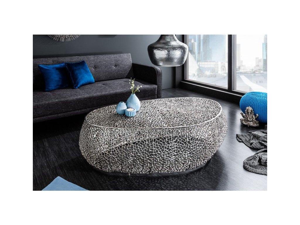 Designový konferenční stolek Freddie, stříbrný 01