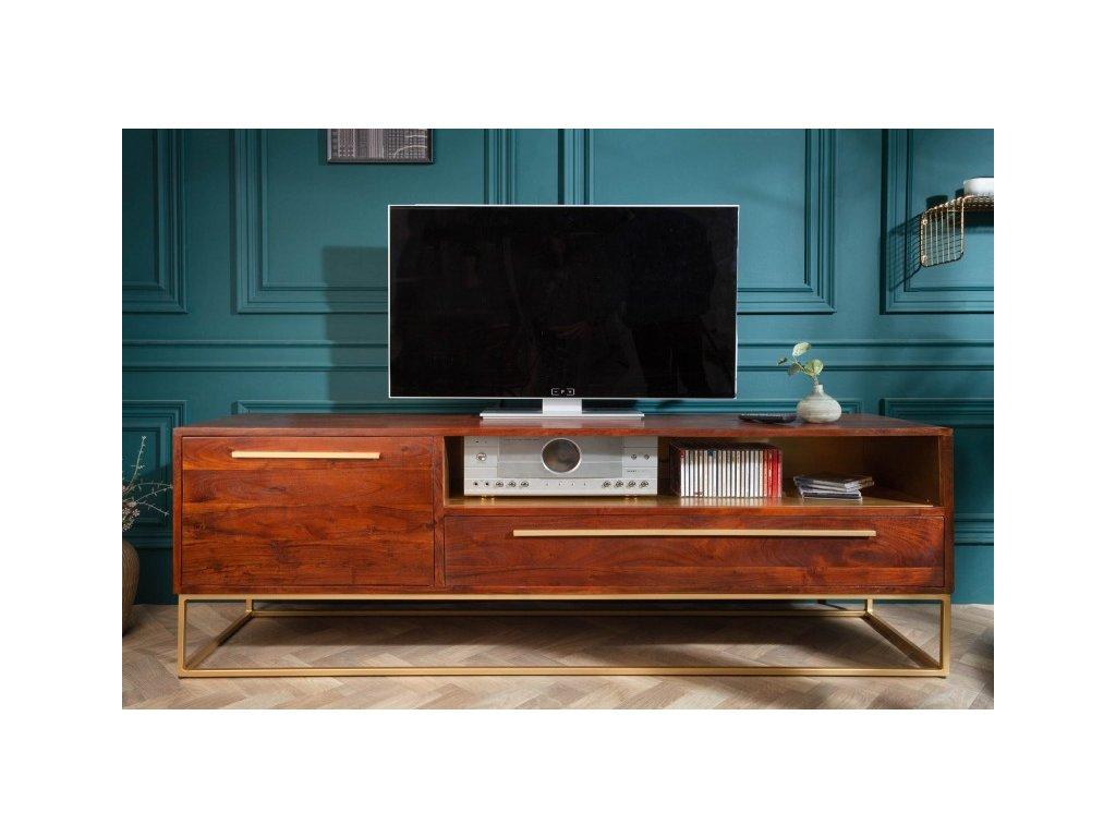 Masivní TV stolek Alfred, zlatý 01