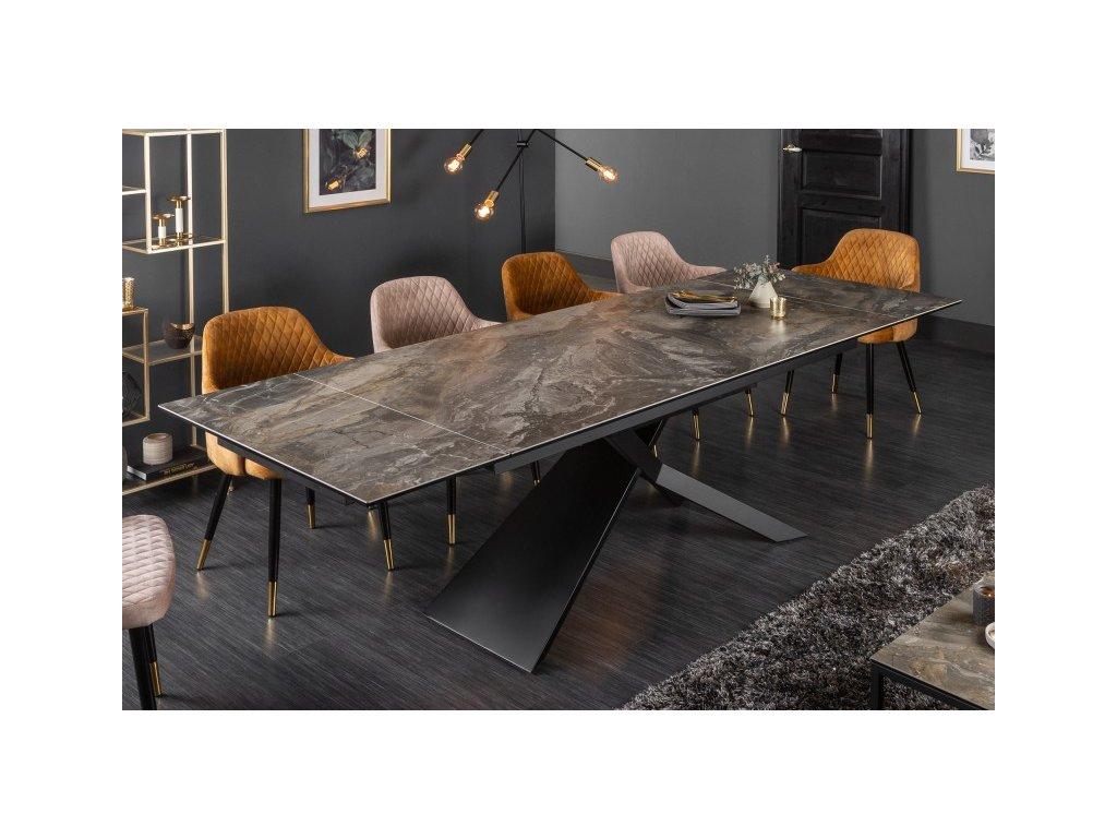 Rozkládací jídelní stůl Jeremiah, mramor černý 01