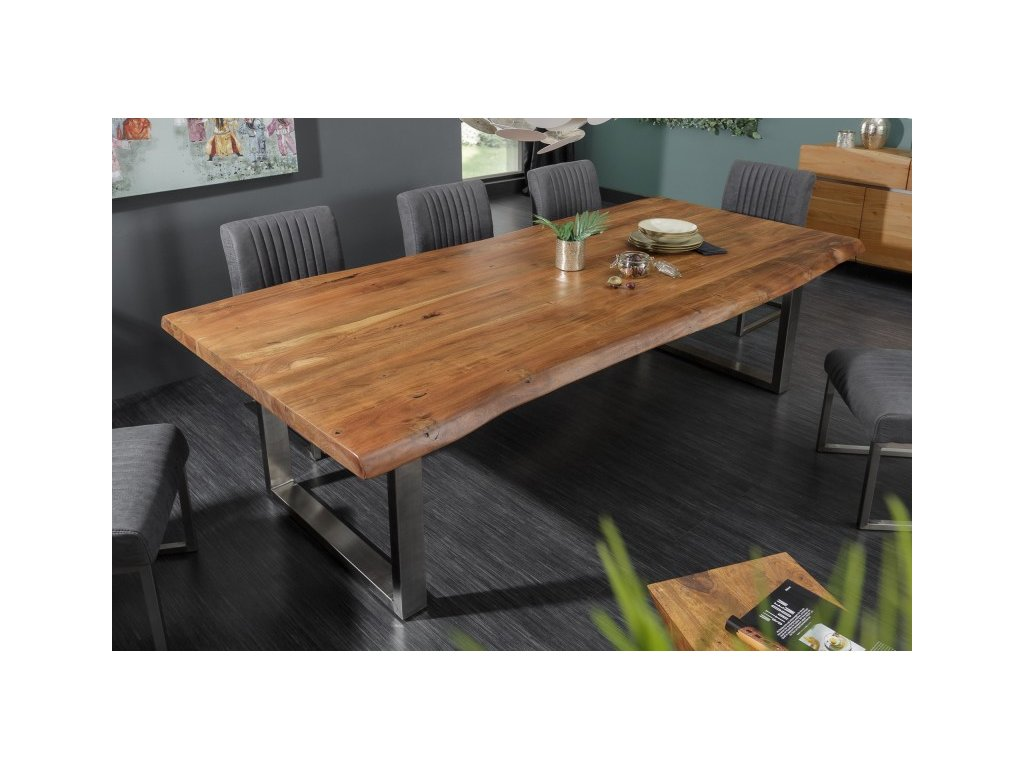 Masivní jídelní stůl Keiron, 240cm hnědý