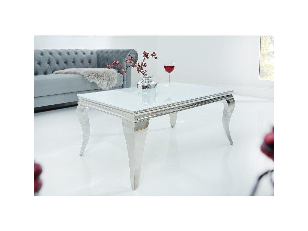 Barokní konferenční stolek Dylan, stříbrný 01