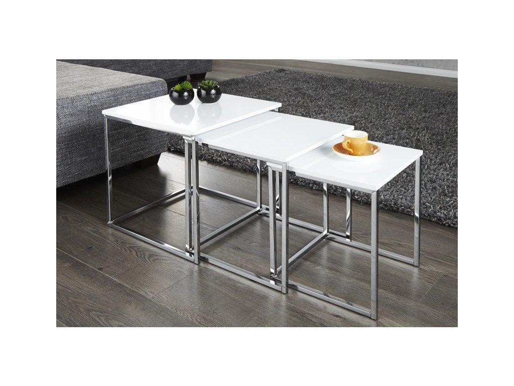 Luxusní konferenční stolek Danny, sada bílý 01