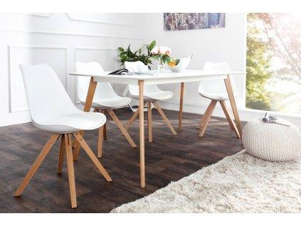Kožená jídelní židle Sara, bílá L 01
