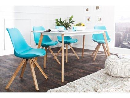 Kožená jídelní židle Sara, modrá L 01