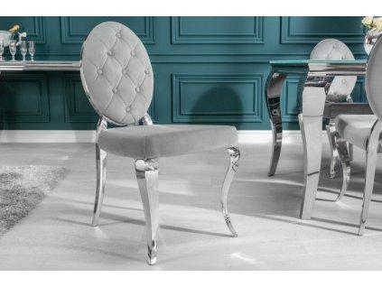 Barokní jídelní židle Anita, šedá 01