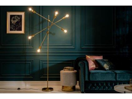 Luxusní stojací lampa Deborah, zlatá 01