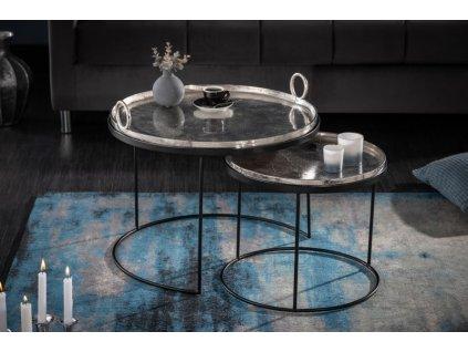 Luxusní konferenční stolek Boyd, stříbrný 01