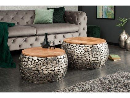 Designový konferenční stolek Donald, stříbrný 01