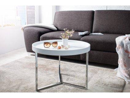 Designový konferenční stolek Fergus, bílý 60cm 01