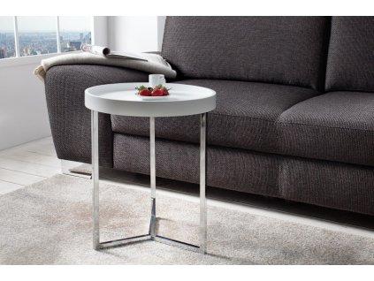 Designový konferenční stolek Fergus, bílý 40cm 01