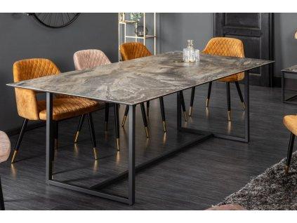 Luxusní jídelní stůl Kevin, hnědý mramor 01