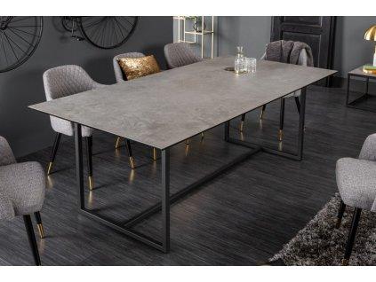 Luxusní jídelní stůl Kevin, šedý mramor 01