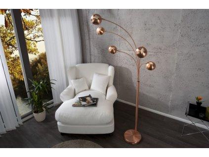 Designová stojací lampa Leah, měď 01