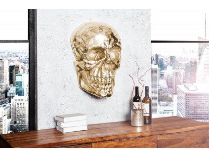 Nástěnná dekorace lebka Grace, zlatá 01