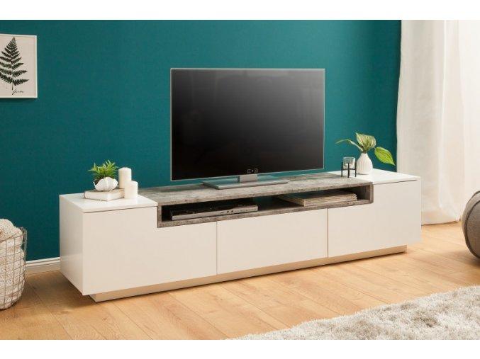 Luxusní TV stolek Will, bílý beton 01