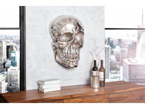 Nástěnná dekorace lebka Grace, stříbrná 01