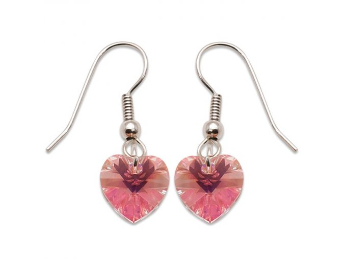 Náušnice s kameny Swarovski HEART EAR LIGHT ROSE AB