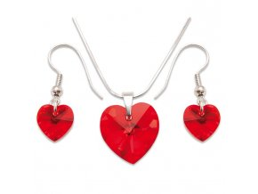 Set s kameny Swarovski HEART SET LIGHT SIAM AB