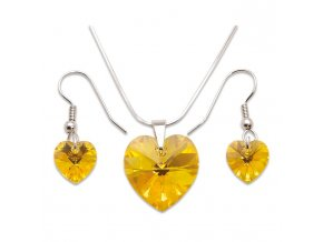 Set s kameny Swarovski HEART SET LIGHT TOPAZ AB