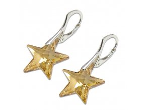 Náušnice s kameny Swarovski STAR EAR GOLDEN SHADOW