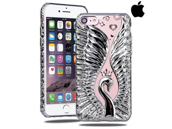 SHENGO Swan Strieborná Labuď obal, kryt na iphone Luxria 1
