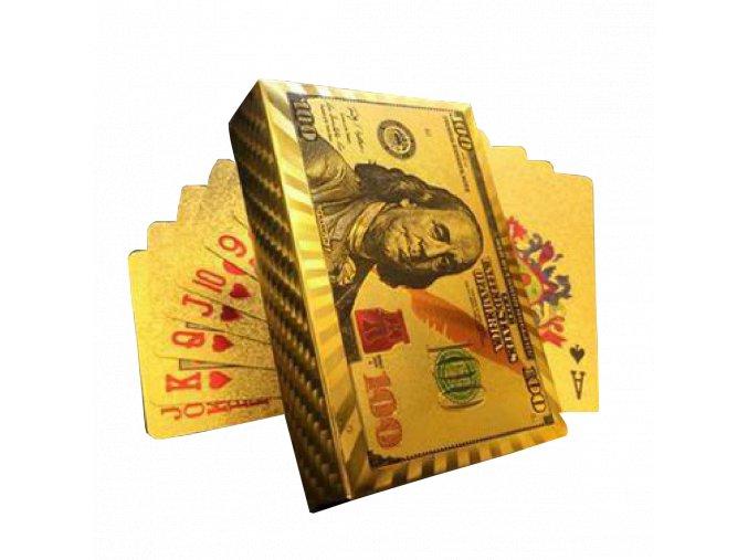 Poker Hracie karty zlaté 100 Dollar (1)