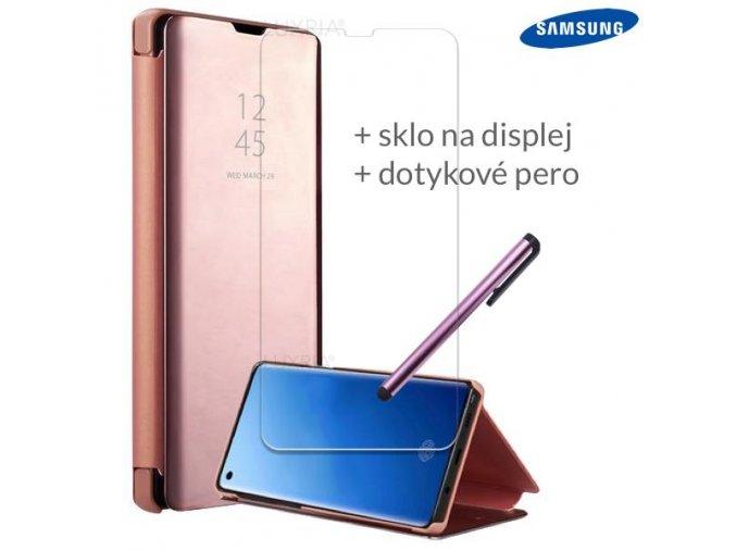 Otváracie Púzdro Roybens Clear View pre Samsung Ružové