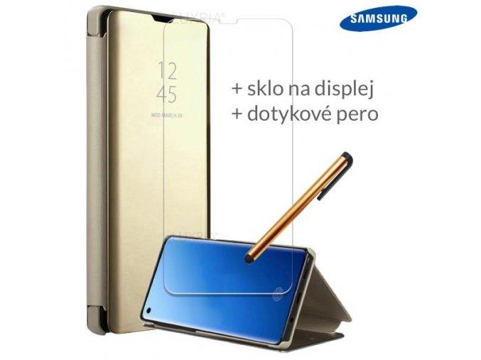 Otváracie Púzdro Roybens Clear View pre Samsung Zlate