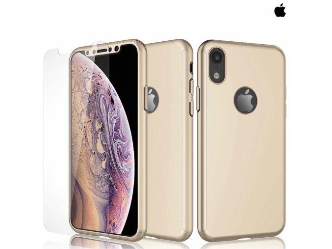 Puzdro Roybens 360 Full Body pre Apple iPhone + tvrdene sklo zlate