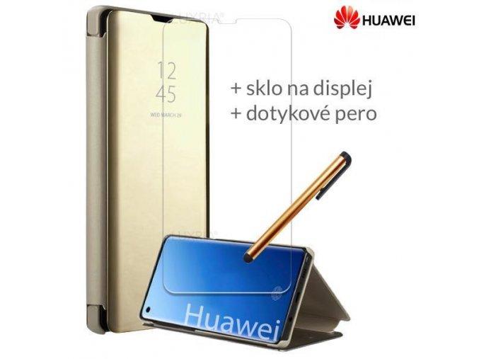 Otváracie Púzdro Roybens Clear View pre Huawei Zlate