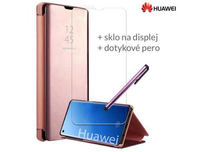 Otváracie Púzdro Roybens Clear View pre Huawei Ružové
