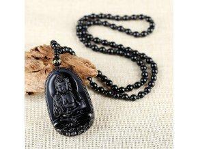 Prírodný ručne vyrezávaný obsidian Budha náhrdelník (1)