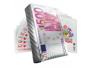 Poker Hracie karty strieborné 500 Euro (1)