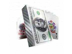 Poker Hracie karty strieborné 100 Dollar (1)