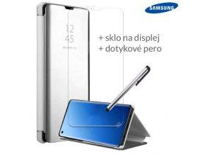Otváracie Púzdro Roybens Clear View pre Samsung Strieborne