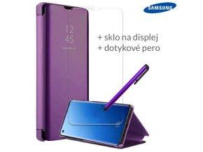 Otváracie Púzdro Roybens Clear View pre Samsung Fialove