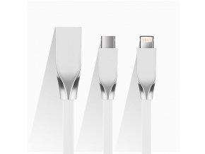 Plochý kovový biely USB kábel pre iphone a android (1)