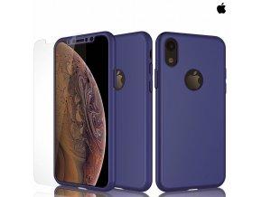 Puzdro Roybens 360 Full Body pre Apple iPhone + tvrdene sklo modre