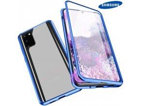 Magneticky dvojdielny kovovo skleneny obal Luxria Double Glass pre Samsung Modry
