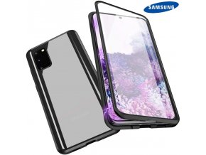 Magneticky dvojdielny kovovo skleneny obal Luxria Double Glass pre Samsung Cierny