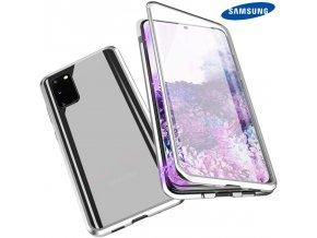 Magneticky dvojdielny kovovo skleneny obal Luxria Double Glass pre Samsung Strieborny