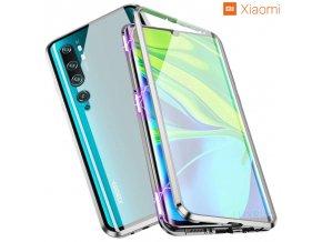 Magneticky dvojdielny kovovo skleneny obal Luxria Double Glass pre Xiaomi Strieborny
