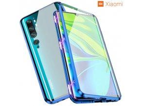 Magneticky dvojdielny kovovo skleneny obal Luxria Double Glass pre Xiaomi Modry