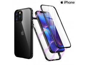 Magneticky dvojdielny kovovo skleneny obal Luxria Double Glass pre Apple iPhone Cierny