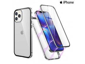 Magneticky dvojdielny kovovo skleneny obal Luxria Double Glass pre Apple iPhone Strieborny