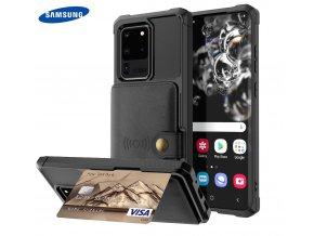 Luxria Wallet Case pre Samsung Čierne kožené púzdro pre karty a bankovky