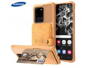 Luxria Wallet Case pre Samsung Hnedé kožené púzdro pre karty a bankovky 1
