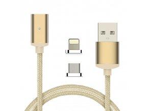 Magnetický USB kábel iPhone, Android, Zlatý 1