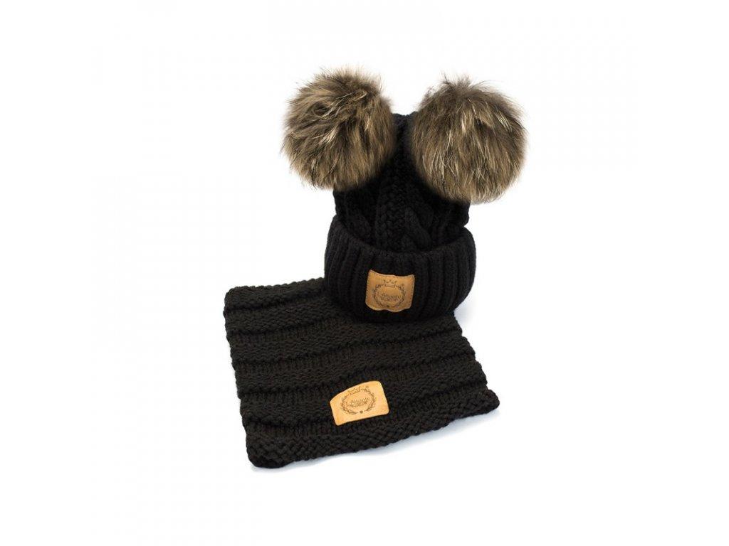 1fd079f01 Lattante čiapka nákrčník pravá kožušina čierna cap chimney nature fur black