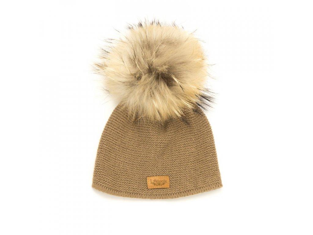 19efd9059 Lattante jarná čiapka pravá kožušina bledo hnedá spring cap nature fur  capuccino